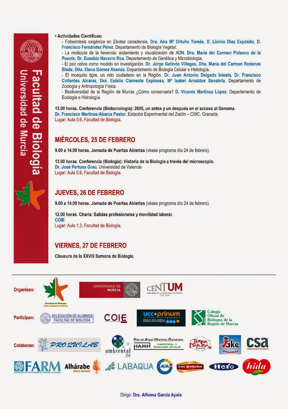 PROGRAMA XXVIII SEMANA DE BIOLOGÍA Año Internacional de los Suelos 23 – 27 de febrero de 2015