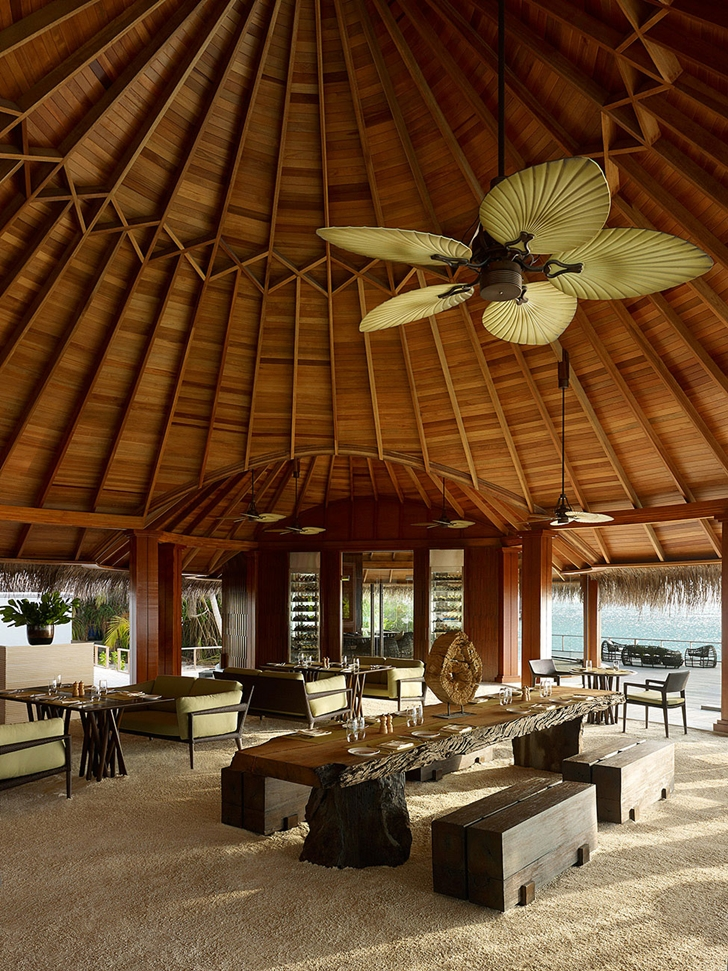 Tropical residence interior in Luxury Dusit Thani Resort in Maldives