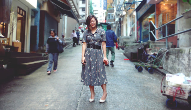 Streetstyle long vintage dress Graham St. Hong Kong