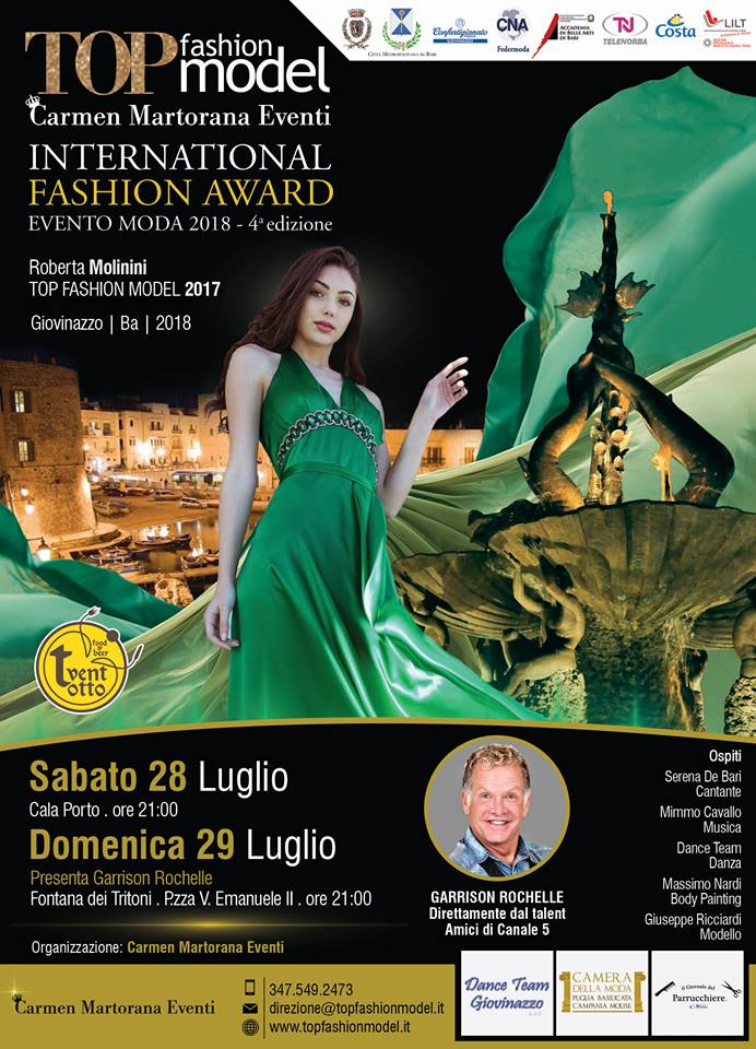 """""""TOP Fashion Model - International Fashion Award"""", che si svolgerà sabato 28 e domenica 29 luglio a"""