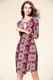 New 2016 Fuchsia Chrysanthemum OL Dress