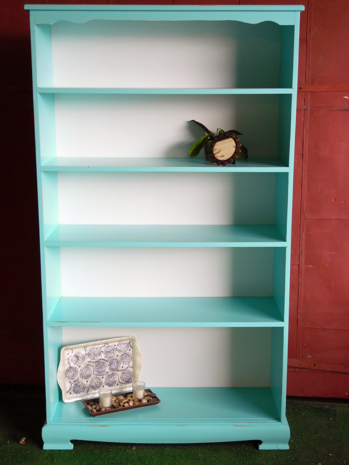 Awesome Solid Wood Turquoise And White Distressed Bookshelf 13000 36Wx13Dx63T