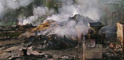 man sets village on fire