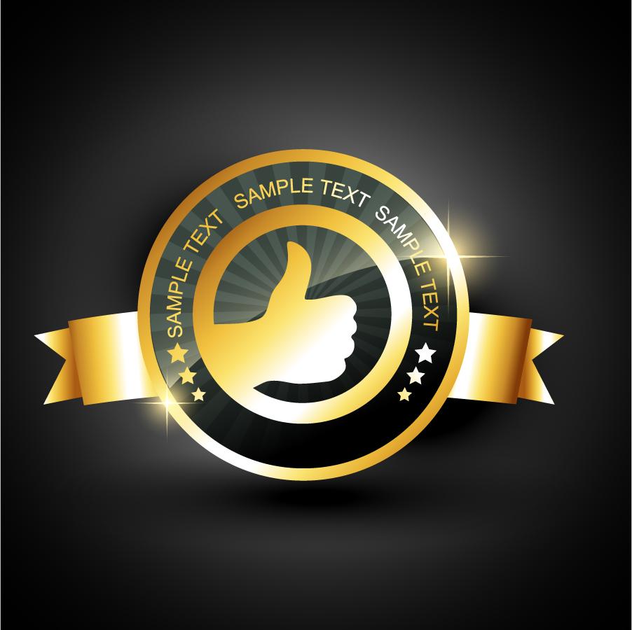 黄金に輝く「いいネ!」バッジ gold badge labels イラスト素材