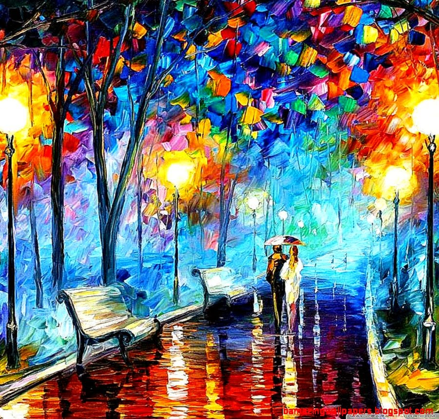 Modern Art Wallpaper: Abstract Painting Of Love