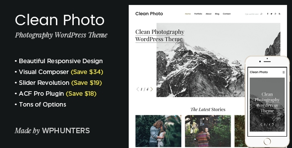 download Clean Photo - Photography Portfolio WordPress Theme