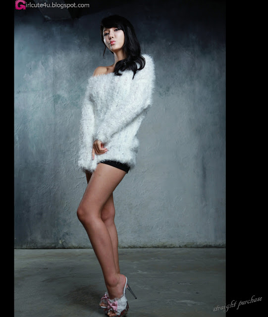 2 Cha Sun Hwa in Fluffy White-Very cute asian girl - girlcute4u.blogspot.com