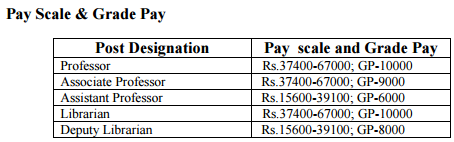 Doon University Pay scale and grade pay