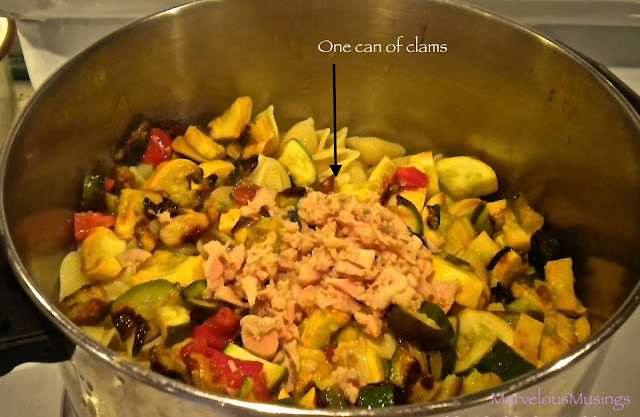Caramelized summer squash with clams and shell pasta/marvelousmusings