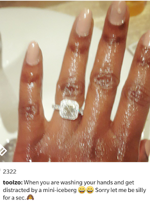 Toolz shows off her engagement ring