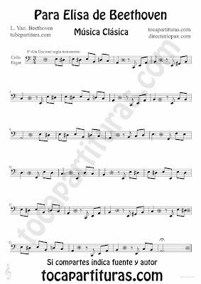 Tubepartitura Para Elisa de Beethoven partitura para Violonchelo y Fagot tema de Música Clásica