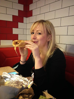 Blonde eating wrap