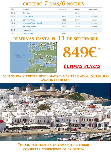 Oferta especial de Crucero por el Mar Egeo desde Bari. Información