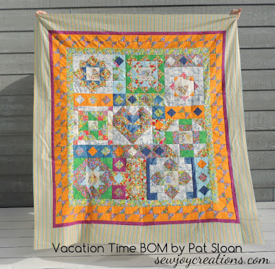 vacation time by pat sloan quilt top complete outside photo
