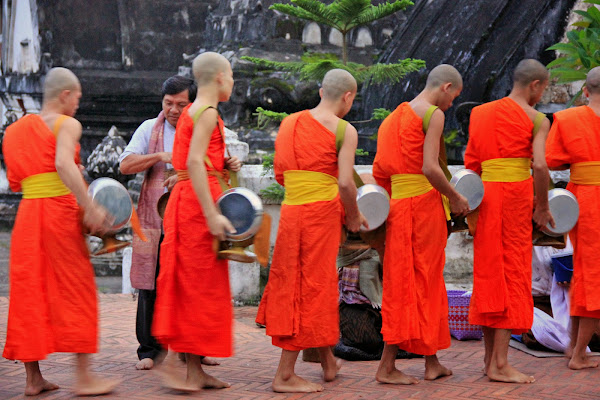 Alms giving Ceremony at Wat Mai