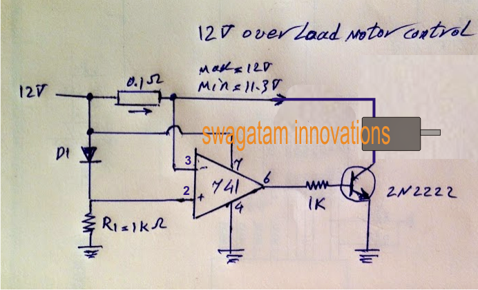 Simple motor over current controller circuit using the IC 741