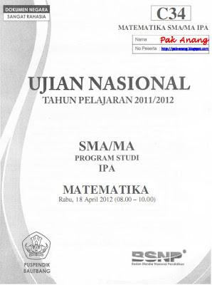 kini pembahasan UN Matematika SMA tahun  Pembahasan Soal UN Matematika SMA Program IPA 2012 (TRIK SUPERKILAT) (Paket C34)