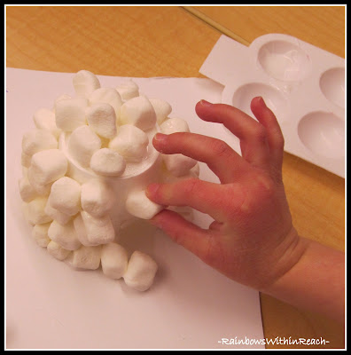 photo of: Marshmallows and styrofoam cup make a winter igloo via RainbowsWithinReach