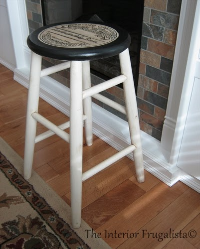 Stool makeover using chalk paint and an apothecary label graphic