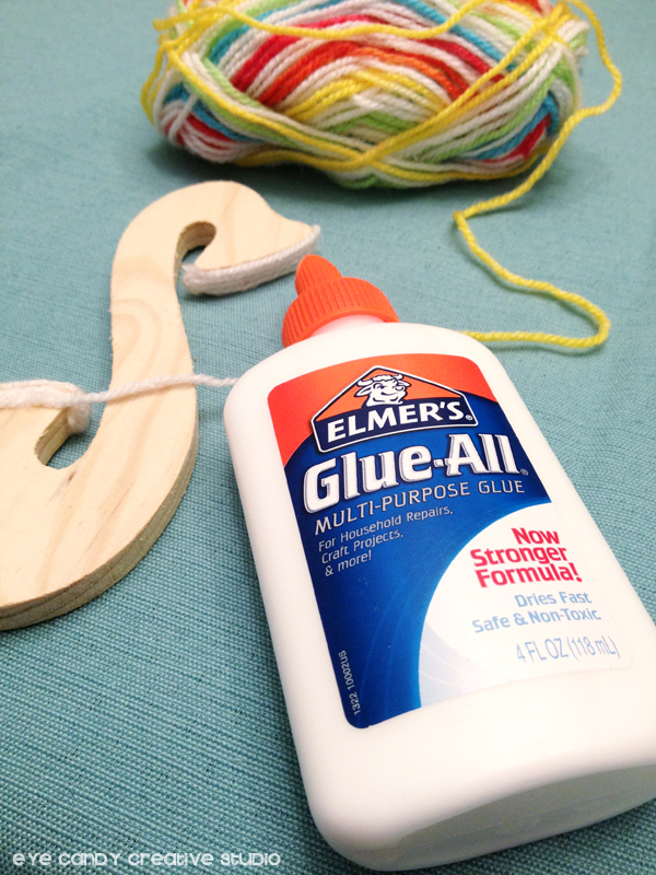 supplies for yarn wrapped letters, Elmer's glue, rainbow yarn, letters