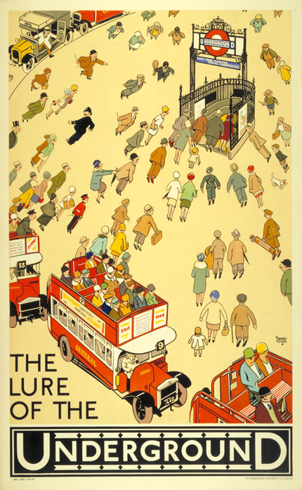 advertising, classic posters, free download, free printable, graphic design, printables, retro prints, travel, travel posters, vintage, vintage posters, vintage printables, The Lure of the Underground - Vintage London Travel Poster Printable