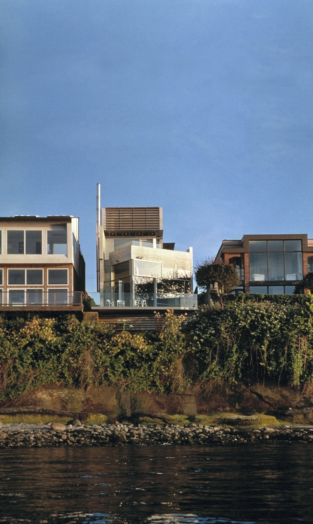 Modern Shaw house from the bay