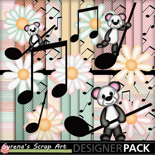 Musical Panda Bears Digital Scrapbook Kit