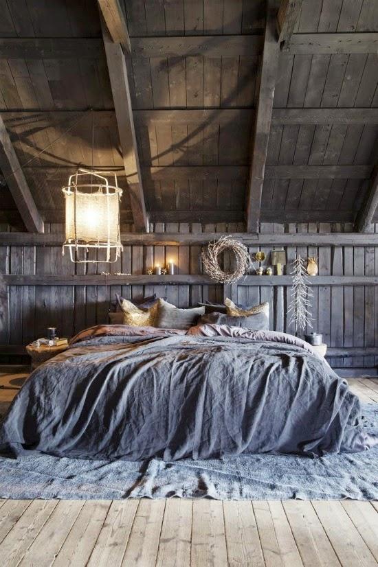 dormitorio gris rustico, vintage