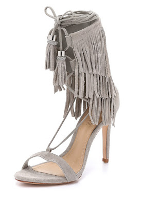 Schutz light gray high heeled sandal with fringe detail