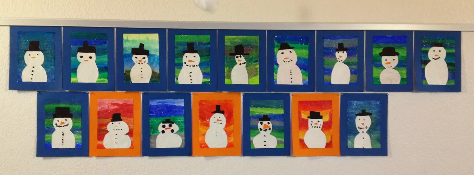 KLASSENKUNST Schneemannbild mit warmen & kalten Farben
