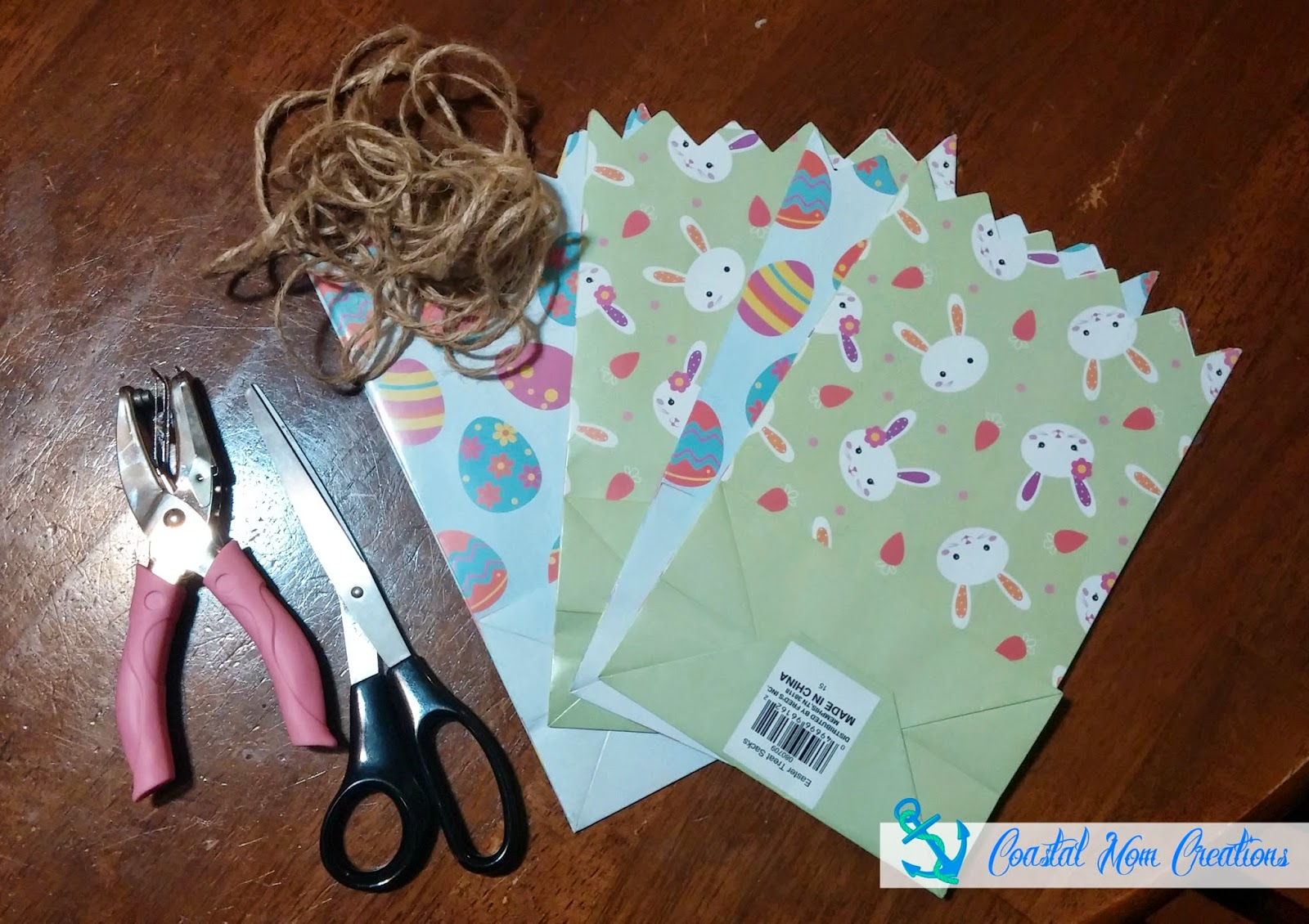 Coastal mom creations march 2015 all you need are easter gift bags twine scissors and a single hole punch she found the easter gift bags at freds for 25 cents each negle Image collections