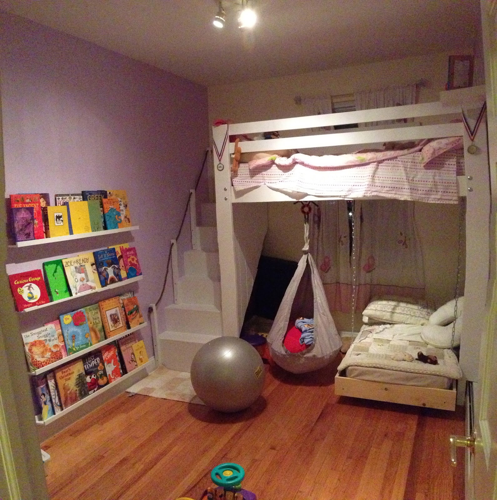 kids space loft bed bunk bed build with hanging toddler bed and swing. Black Bedroom Furniture Sets. Home Design Ideas