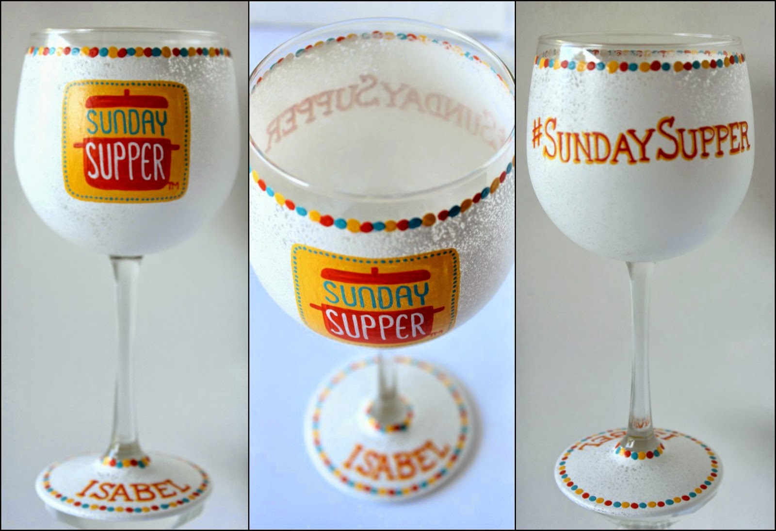#SundaySupper Personalized Logo painted wine glass
