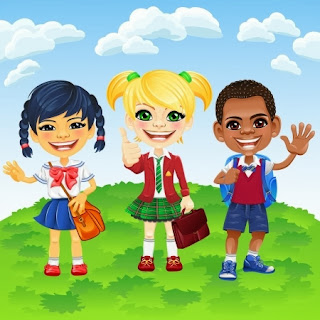 cartoon image of diverse students