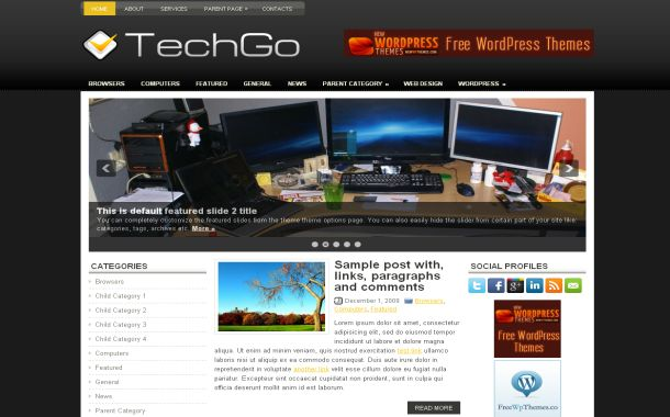 Free Wordpress Black Gadgets Jquery Web2.0 Theme