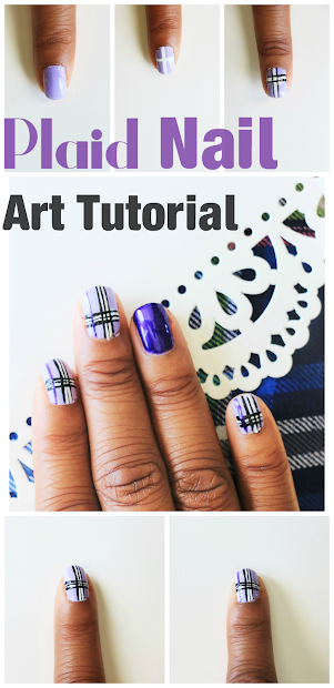 purple plaid nails tutorial - color