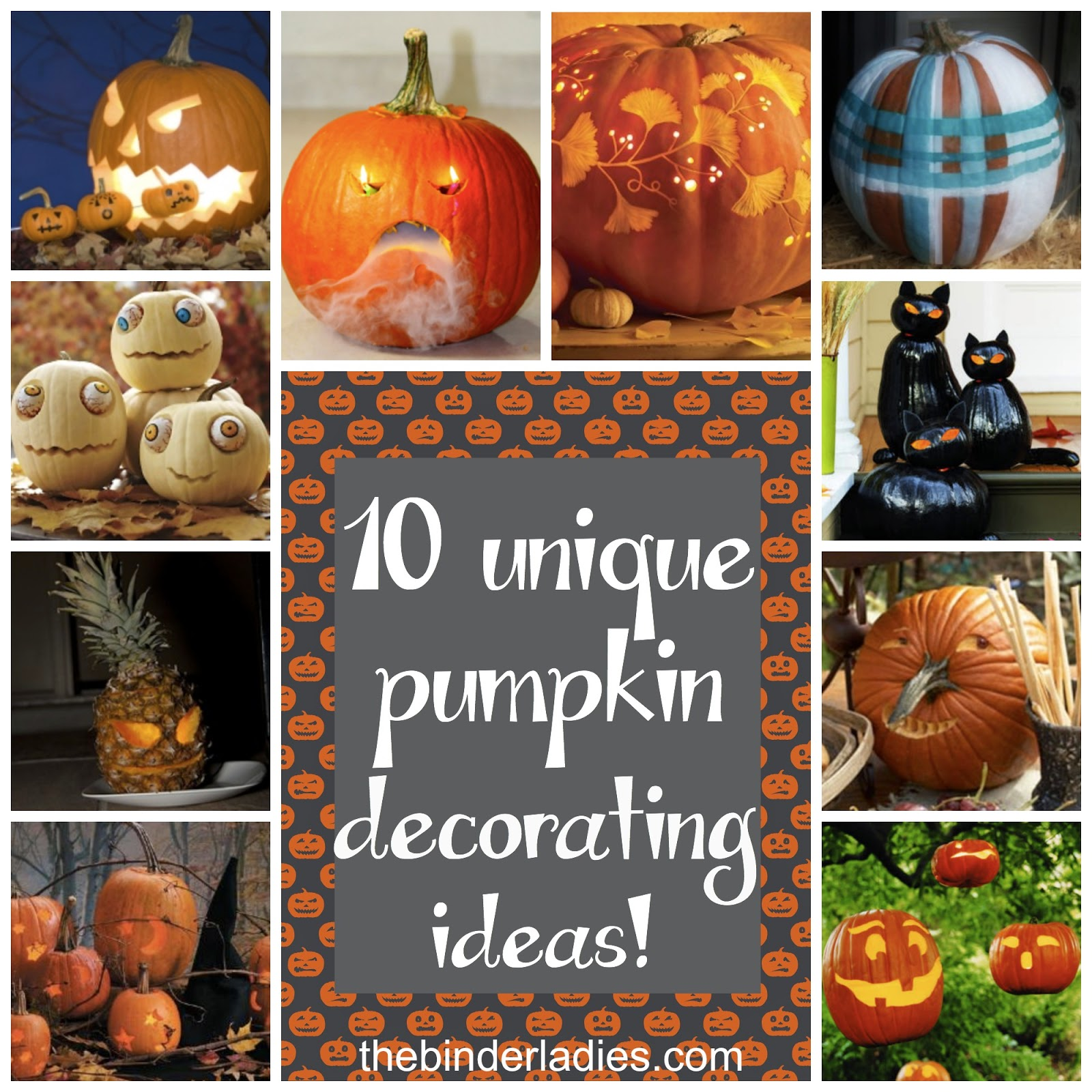 http://www.thebinderladies.com/2014/10/halloween-10-unique-pumpkin-decorating.html