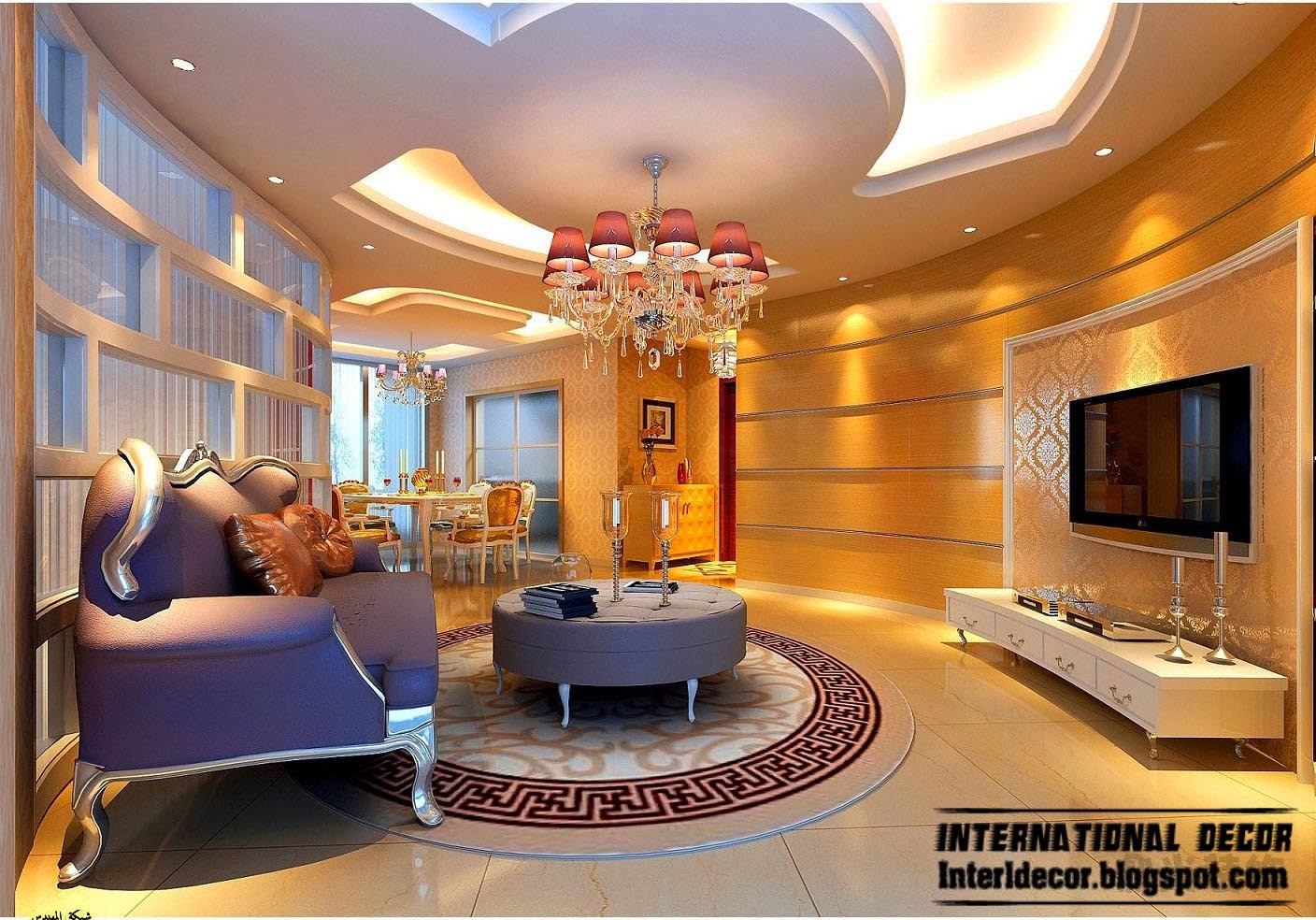 Suspended ceiling pop designs for living room 2015 for Art decoration international