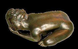 Statue style figuratif Femme nue accroupie: