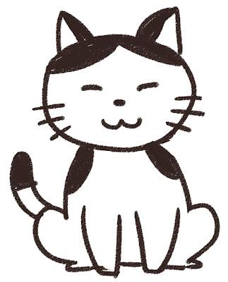 猫のイラスト(動物) 白黒線画