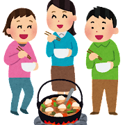 芋煮をしている人達のイラスト「芋煮会」