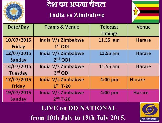 India vs Zimbabwe Live on DD National