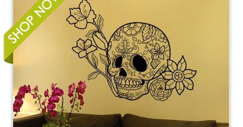 Sugar Skulls - Vinyl Wall Art Decal Sticker Flowers and Sugar Skull ...