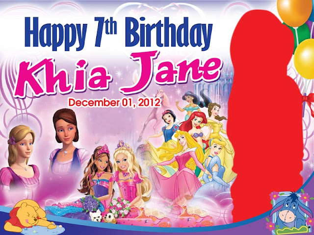 Barbie & 7 Princess Birthday Layout   CustomizePrintShop