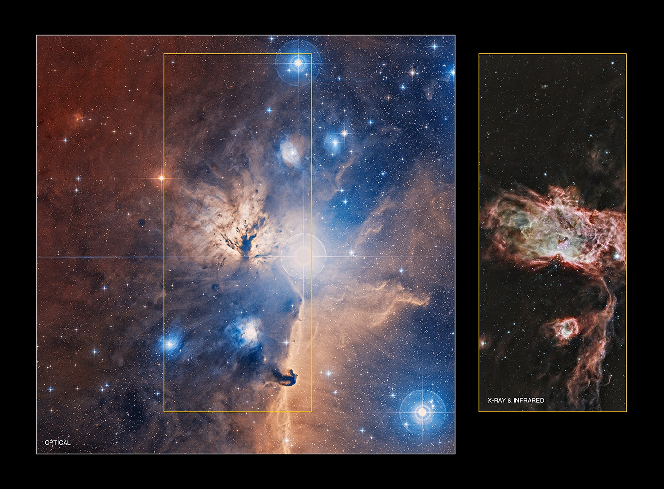 Сравнение изображений туманности Пламя в видимом и рентгеновском/инфракрасном диапазоне