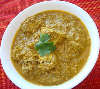 Indian coriander chicken curry
