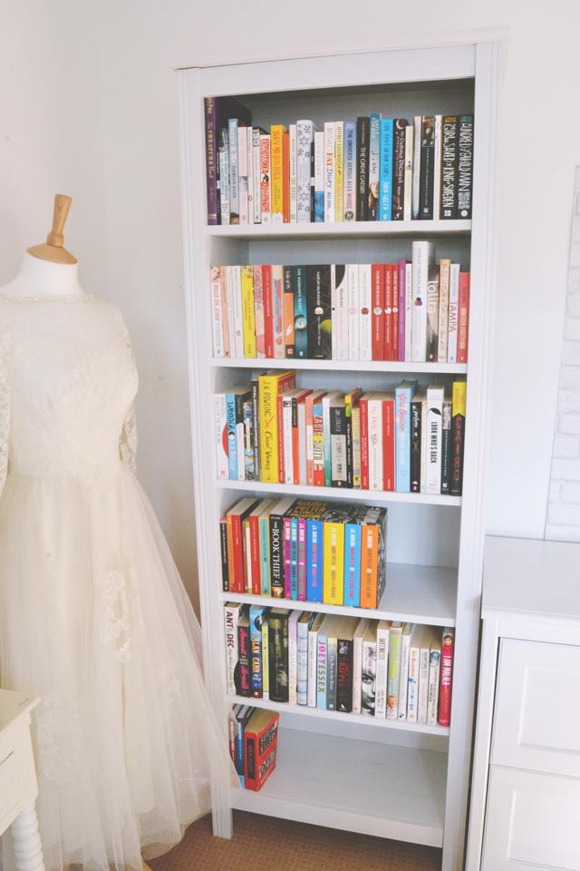 Becky bedbug bookshelf tour for Brusali bookcase