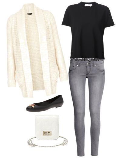 look vaquero gris, blusa negra de encaje, chaqueta de punto blanca, bailarinas negras y mini bolso de cadena