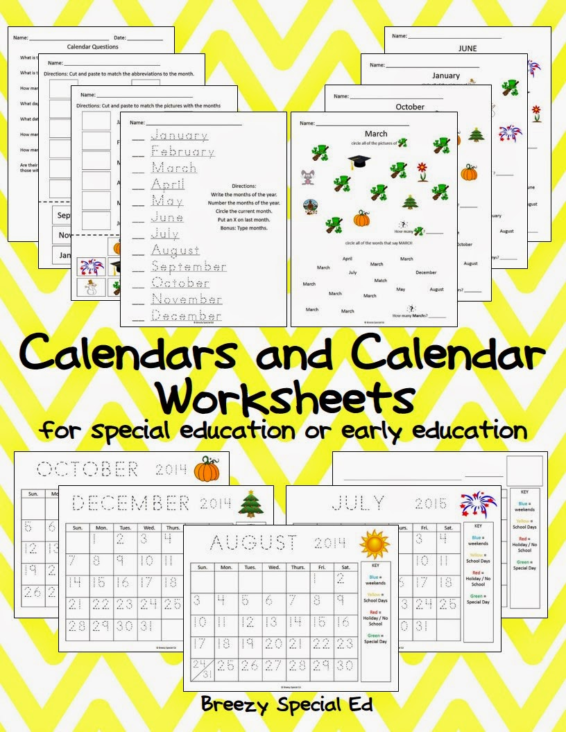 math worksheet : breezy special ed monthly calendar worksheets  august freebies! : Special Education Math Worksheets
