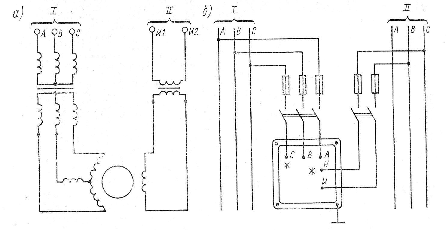 Принципиальная схема (а) и схема включения (б) синхроноскопа